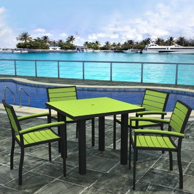 POLYWOOD® Euro Aluminum Square Outdoor Dining Set with Black Frame 5 Piece PW-PWS118-1-12