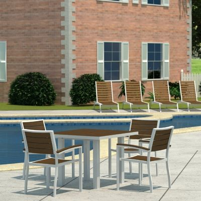 POLYWOOD® Euro Aluminum Square Outdoor Dining Set with Silver Frame 5 Piece PW-PWS118-1-11