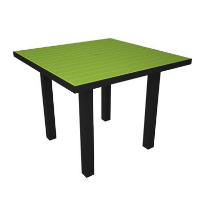 POLYWOOD® Euro Aluminum Square Outdoor Dining Table with Black Frame 36 inch PW-AT36-FAB
