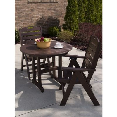 POLYWOOD® Nautical Outdoor Highback Bistro Set 3 piece PW-NCH38SET3