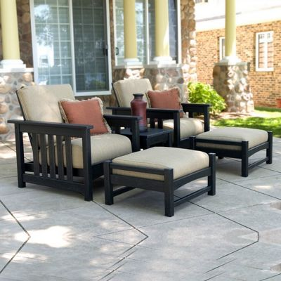POLYWOOD® Plastic Club Mission Patio Lounge Set 5 Piece PW-5BCMC