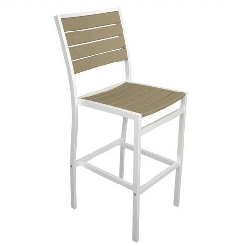 POLYWOOD® Euro Aluminum Outdoor Bar Stool with White Frame PW-A102-FAW