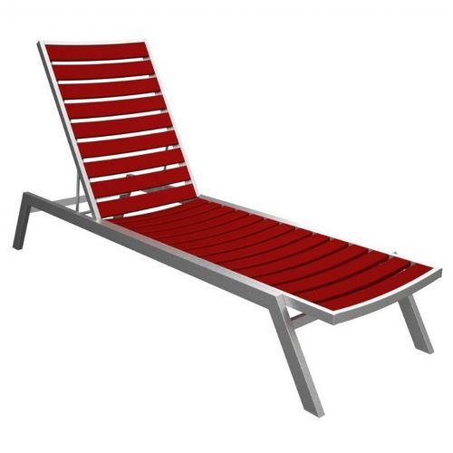POLYWOOD® Euro Aluminum Outdoor Chaise Lounge with Silver Frame PW-AC1-FAS