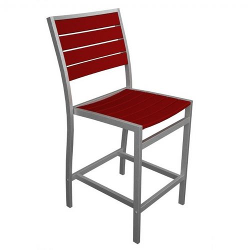 POLYWOOD® Euro Aluminum Outdoor Counter Chair with Silver Frame PW-A101-FAS
