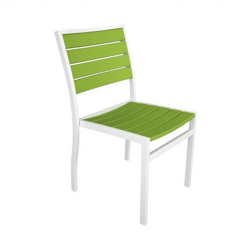 POLYWOOD® Euro Aluminum Outdoor Side Chair with White Frame PW-A100-FAW