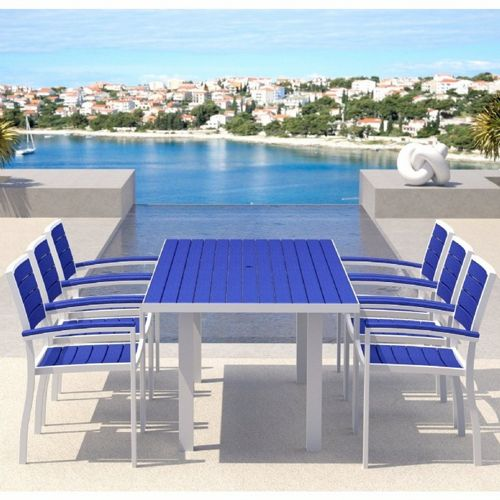 POLYWOOD® Euro Aluminum Rectangle Outdoor Dining Set with White Frame 7 Piece PW-A200-FAW-SET7-PB