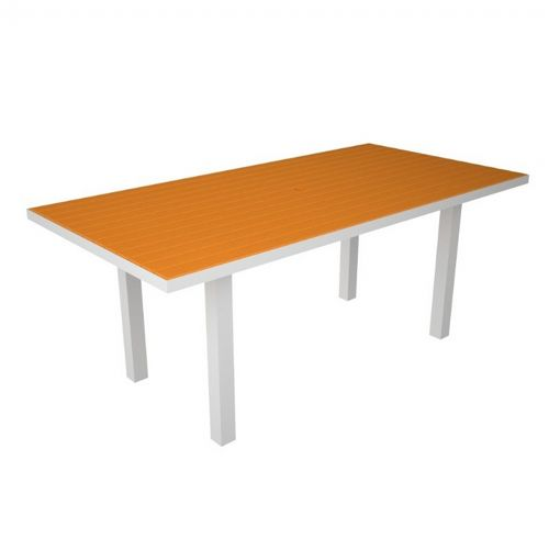 POLYWOOD® Euro Aluminum Rectangle Outdoor Dining Table with White Frame 36x72 PW-AT3672-FAW