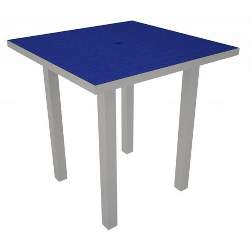 POLYWOOD® Euro Aluminum Square Outdoor Counter Table with Silver Frame 36 inch PW-ATR36-FAS