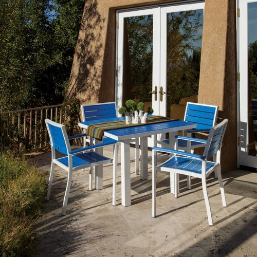Polywood 174 Euro Aluminum Square Outdoor Dining Set With