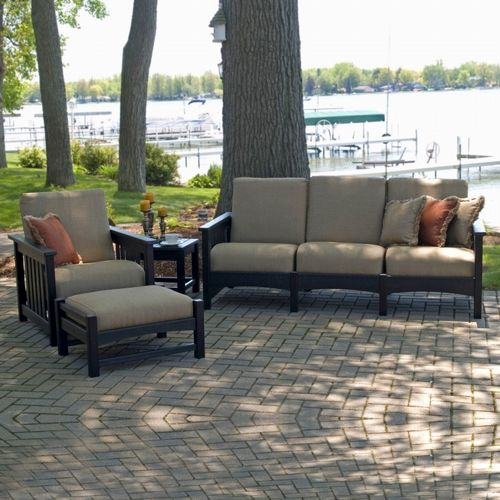 POLYWOOD® Plastic Club Mission Patio Deep Seating Set 4 Piece PW-4ACMC-WH-5413