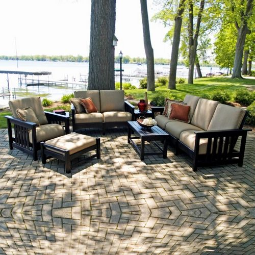 POLYWOOD® Plastic Club Mission Patio Deepseating Set 7 Piece PW-7ACMC