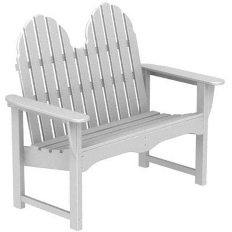 Plastic Wood Adirondack Dining Bench : White Patio Furniture