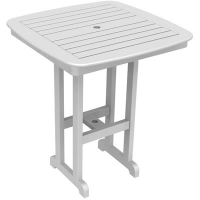 Plastic Wood Nautical Square Bar Table 37 inch : White Patio Furniture