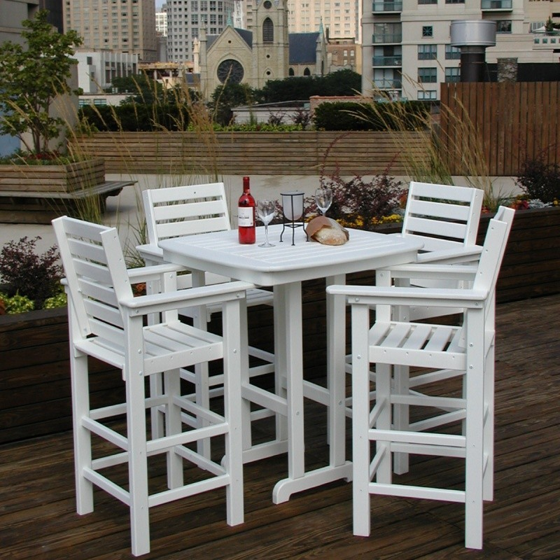 Plastic Wood Captain Five Piece Outdoor Bar Set : White Patio Furniture