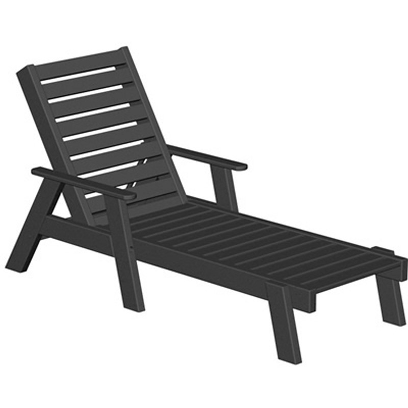 Plastic Captain Outdoor Chaise Lounge w/arms : White Patio Furniture