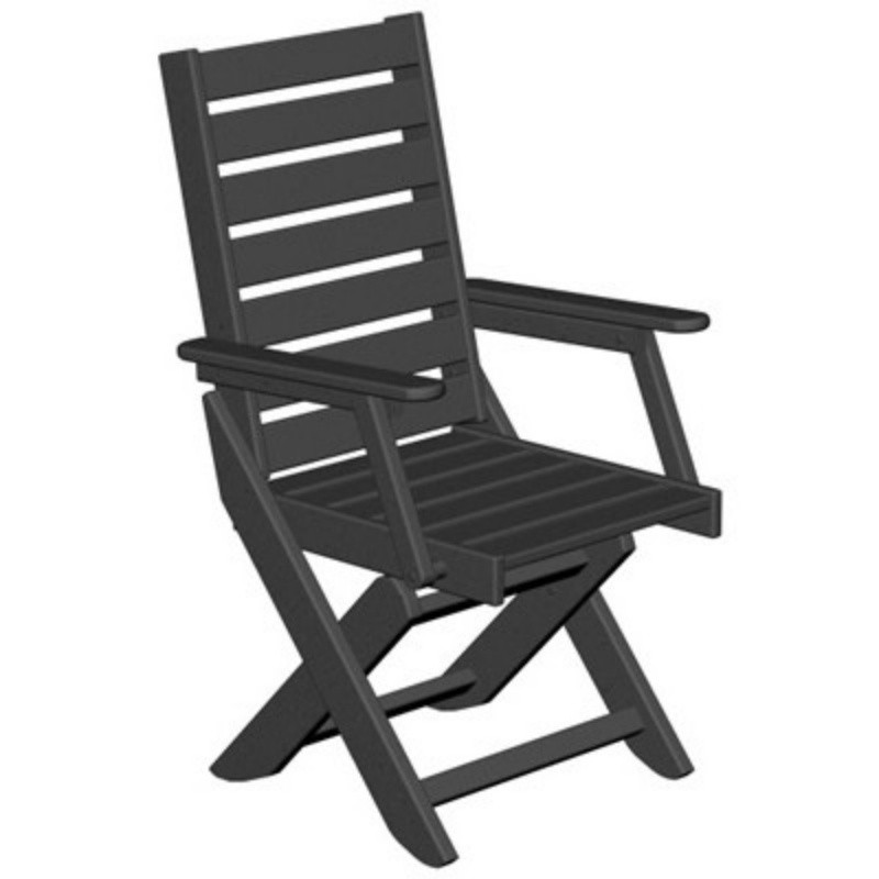 Folding Outdoor Chairs: Polywood Captain Highback Outdoor Folding Dining Chair