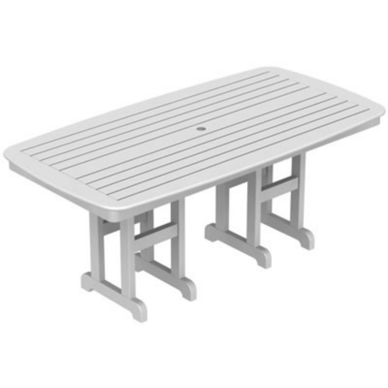 Plastic Wood Nautical Rectangle Dining Table 72 inch : Plastic Outdoor Tables