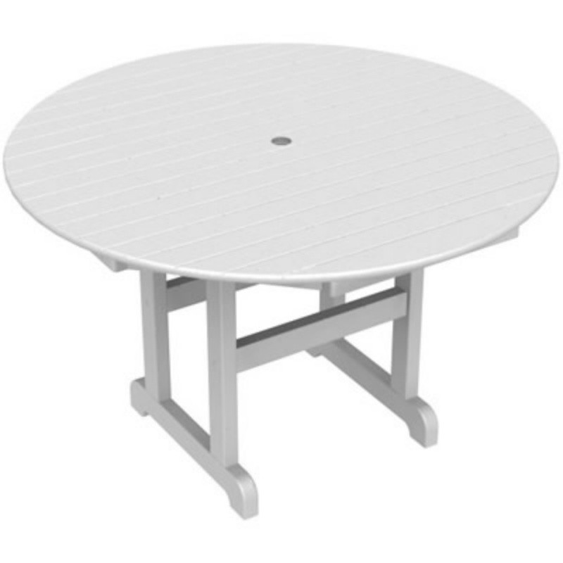 Plastic Wood Round Outdoor Dining Table 48 inch