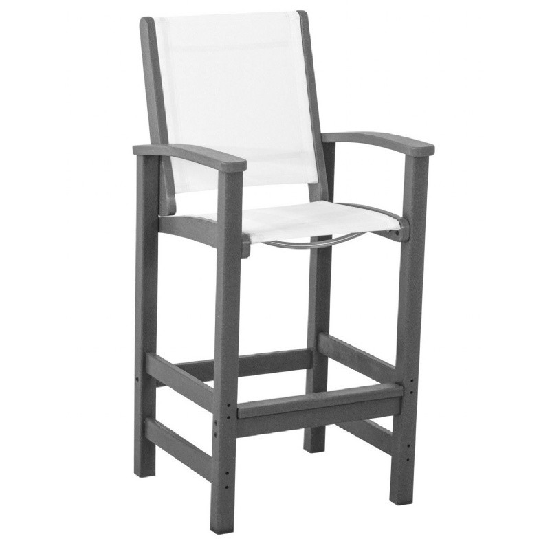 POLYWOOD® Coastal Sling Outdoor Bar Chair