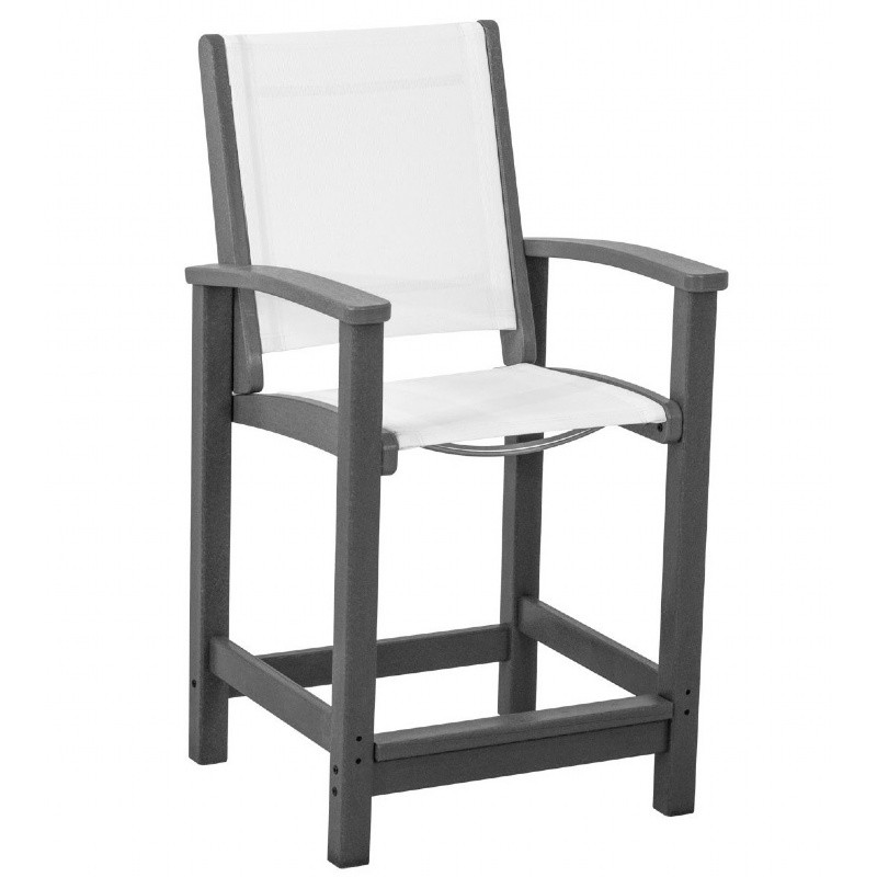 Outdoor Furniture: PolyWood: Coastal Sling Outdoor Counter Chair