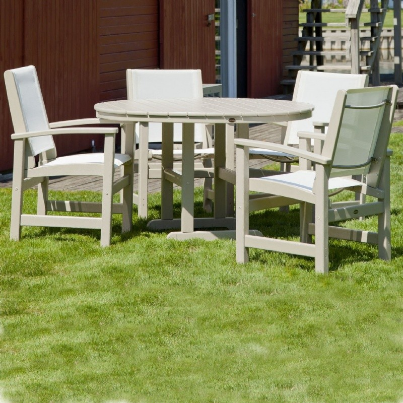 POLYWOOD® Coastal Sling Outdoor Dining Set 5 Piece Round