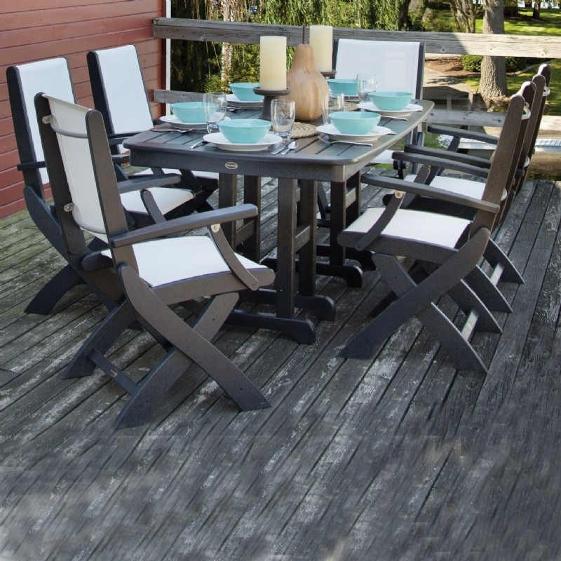 Coastal Sling Outdoor Dining Set 7 Piece Rectangle