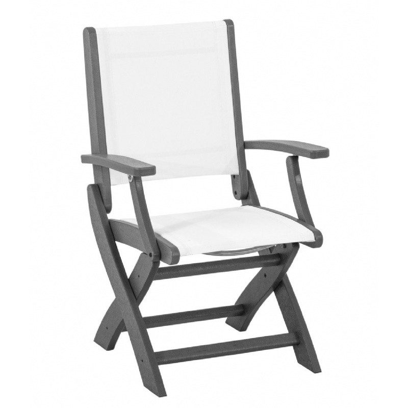 Outdoor Furniture: White Patio Chairs: Coastal Sling Outdoor Folding Dining Chair
