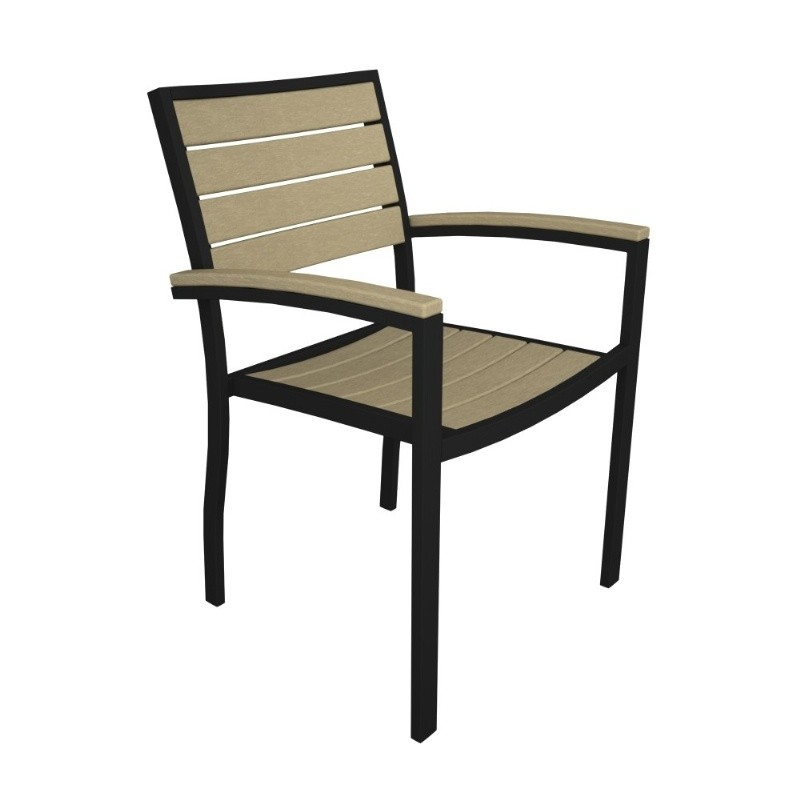 Outdoor Furniture: PolyWood: Euro Aluminum Outdoor Arm Chair with Black Frame