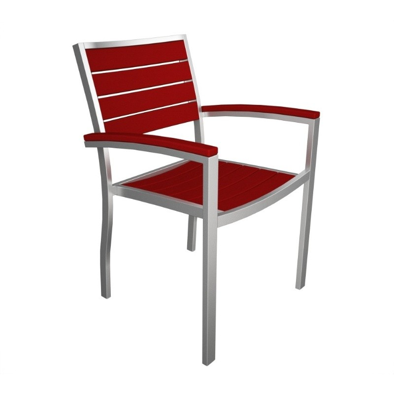 Euro Aluminum Outdoor Arm Chair with Silver Frame : Dining Chairs