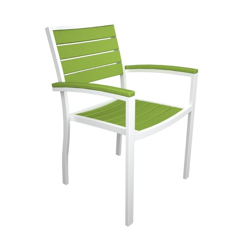 Euro Aluminum Outdoor Arm Chair with White Frame : Dining Chairs