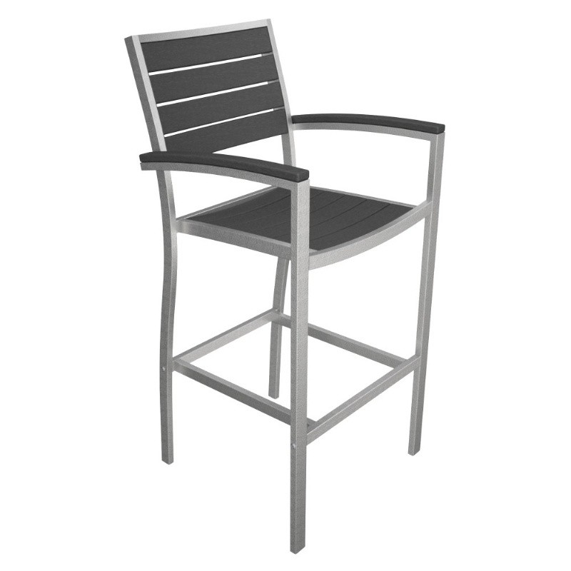 Outdoor Furniture: PolyWood: Euro Aluminum Outdoor Bar Chair with Silver Frame