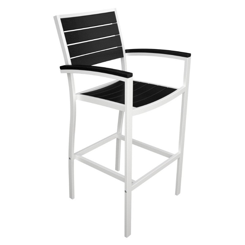 Outdoor Furniture: PolyWood: Euro Aluminum Outdoor Bar Chair with White Frame