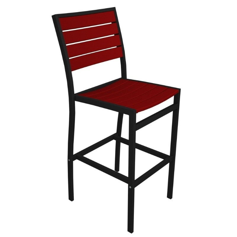 Euro Aluminum Outdoor Bar Stool with Black Frame