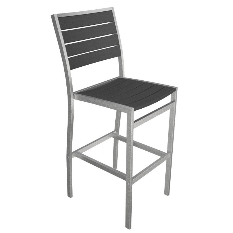 Euro Aluminum Outdoor Bar Stool with Silver Frame