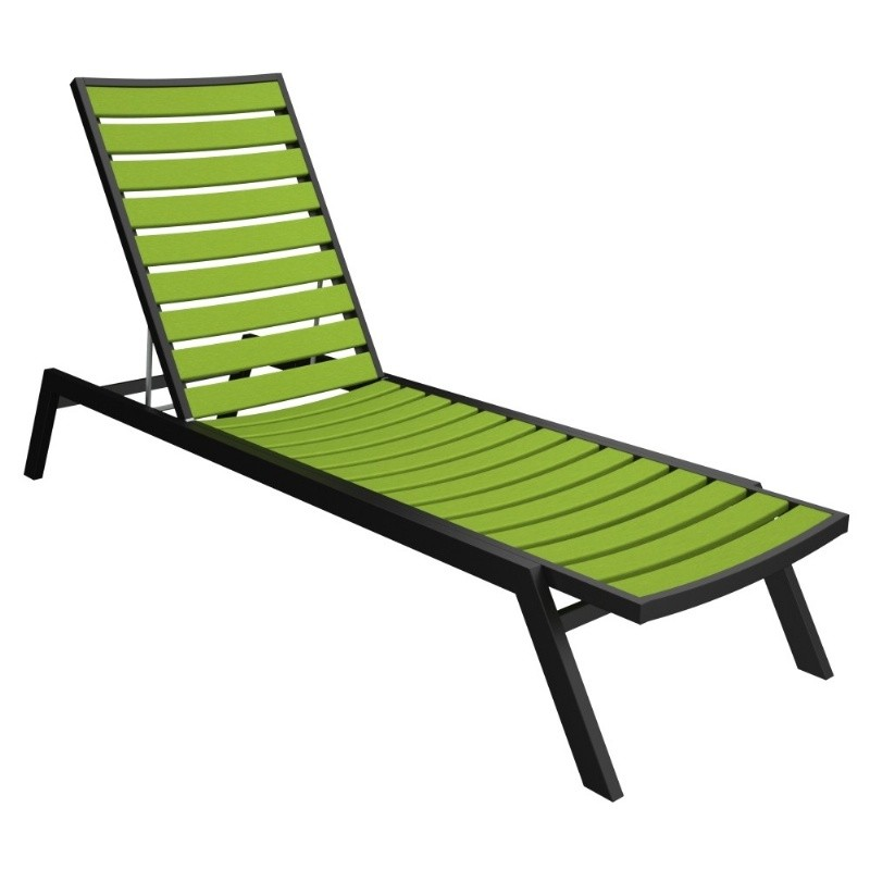 Polywood euro aluminum outdoor chaise lounge with black frame for Black metal chaise lounge outdoor