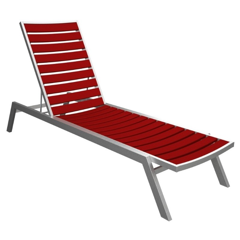 Polywood euro aluminum outdoor chaise lounge with silver for Aluminum frame chaise lounge