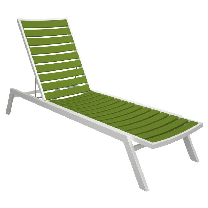 Euro Aluminum Outdoor Chaise Lounge with White Frame alternative photo #0