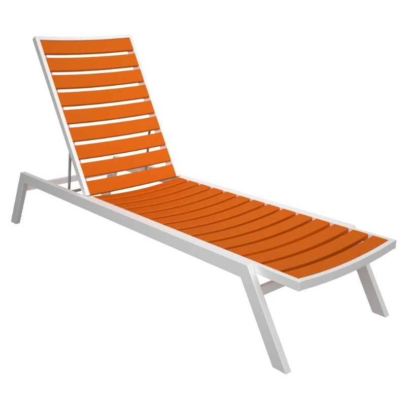 Euro Aluminum Outdoor Chaise Lounge with White Frame alternative photo #1