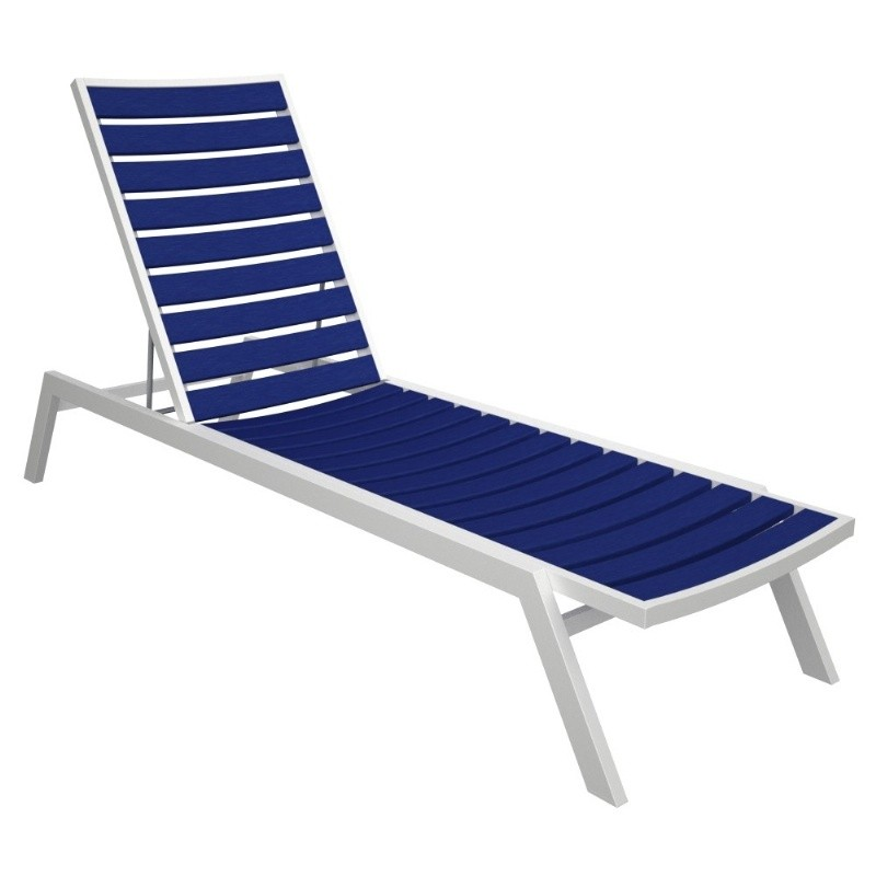 Euro Aluminum Outdoor Chaise Lounge with White Frame alternative photo #3