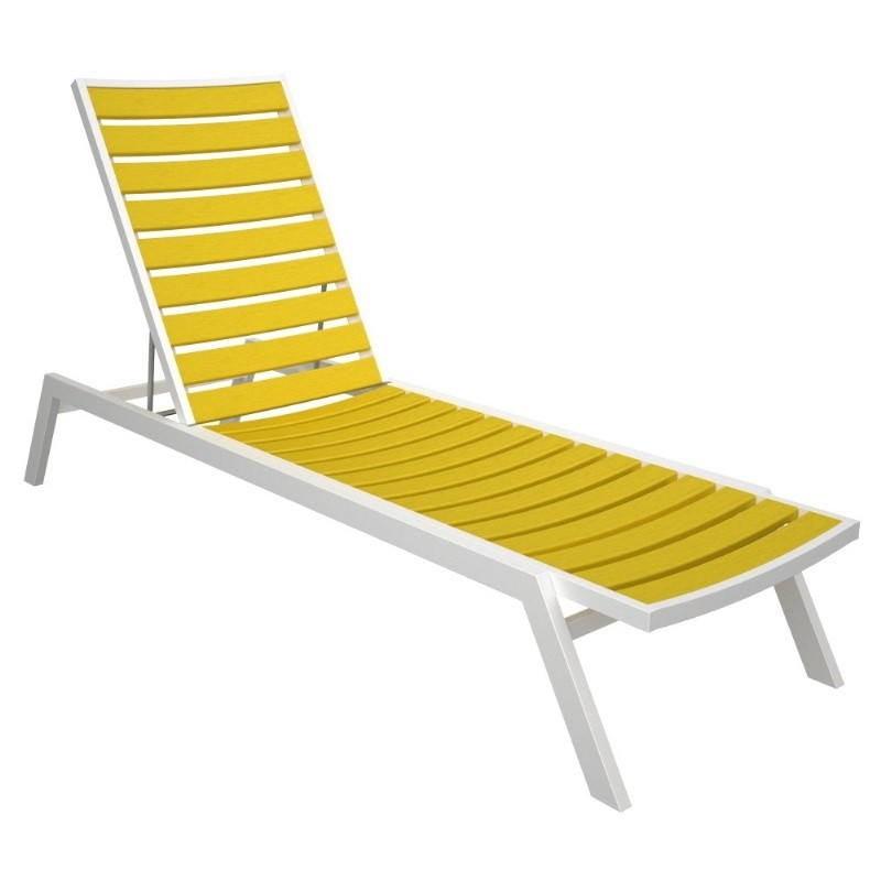 Euro Aluminum Outdoor Chaise Lounge with White Frame alternative photo #4