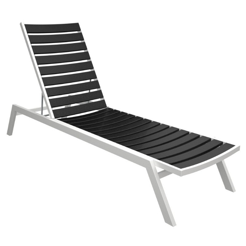 Polywood euro aluminum outdoor chaise lounge with white frame for Black metal chaise lounge outdoor
