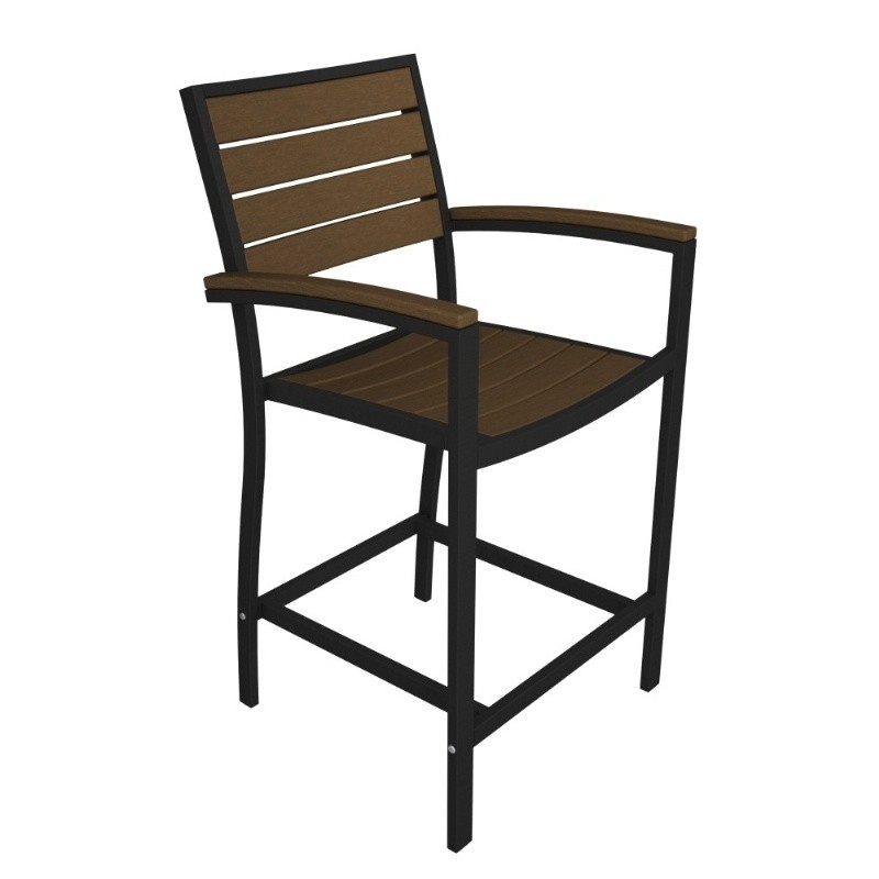 Euro Aluminum Outdoor Counter Arm Chair with Black Frame alternative photo #1