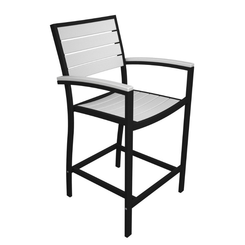 Euro Aluminum Outdoor Counter Arm Chair with Black Frame alternative photo #3