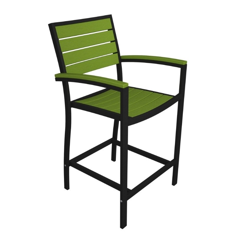 Euro Aluminum Outdoor Counter Arm Chair with Black Frame alternative photo #4