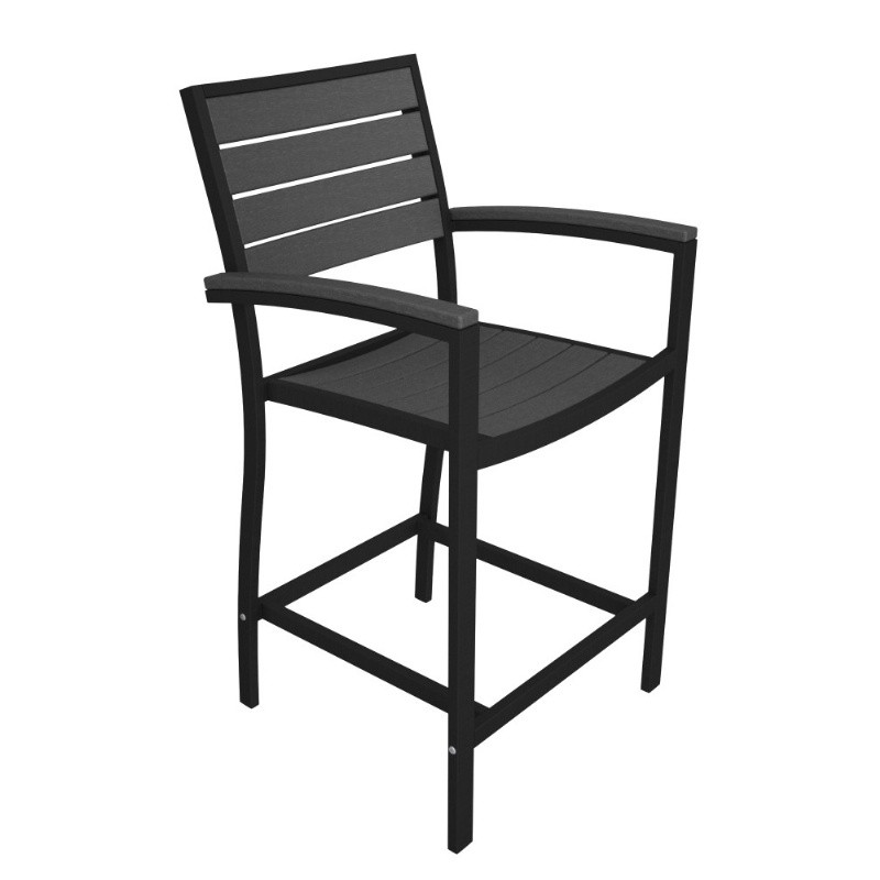 Outdoor Furniture: PolyWood: Euro Aluminum Outdoor Counter Arm Chair with Black Frame