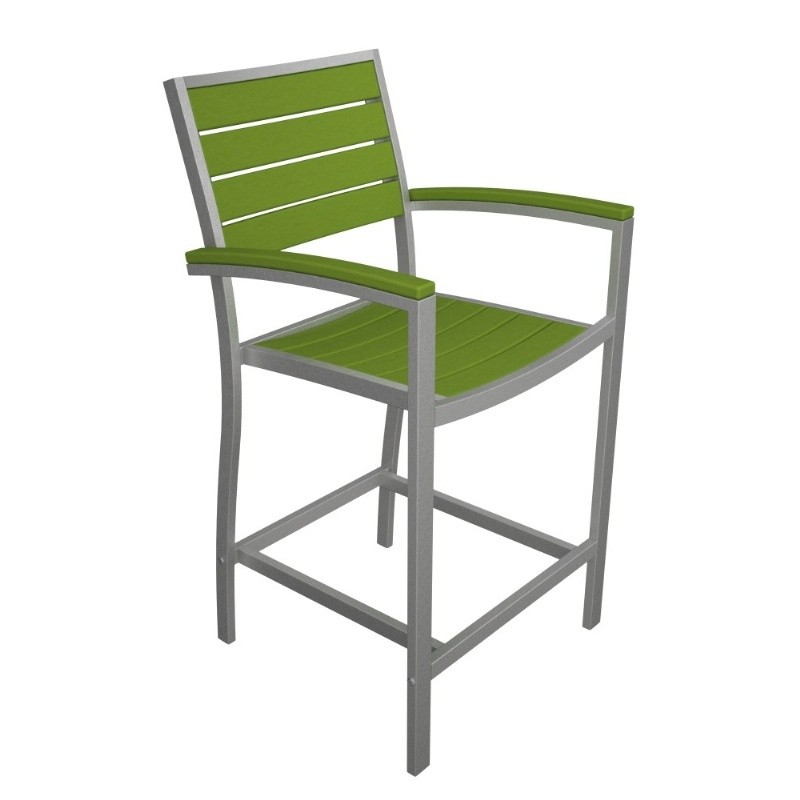 Outdoor Furniture: PolyWood: Euro Aluminum Outdoor Counter Arm Chair with Silver Frame