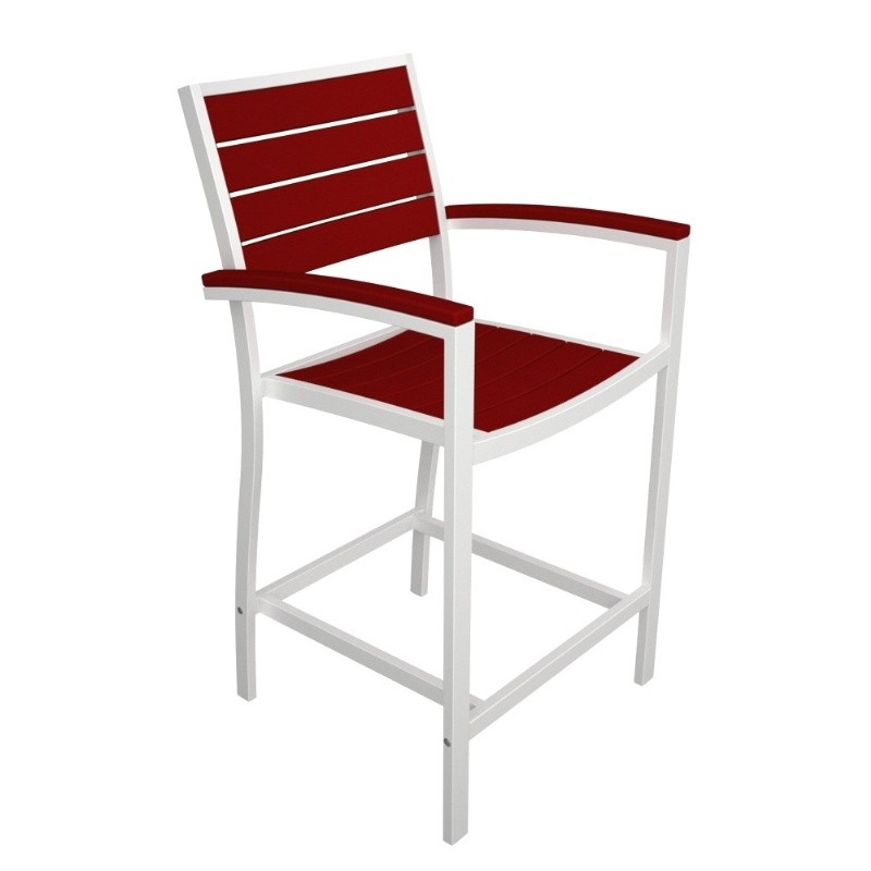 Euro Aluminum Outdoor Counter Arm Chair with White Frame