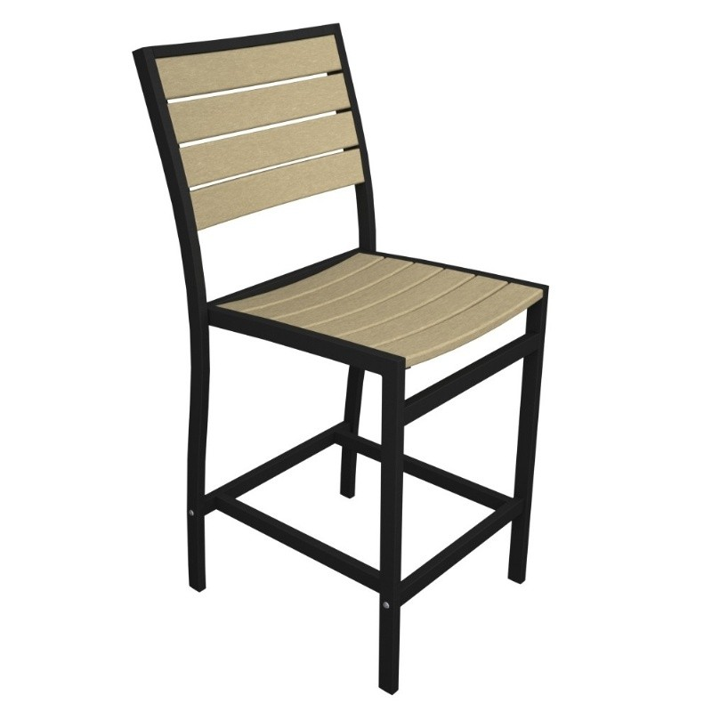 Outdoor Furniture: PolyWood: Euro Aluminum Outdoor Counter Chair with Black Frame