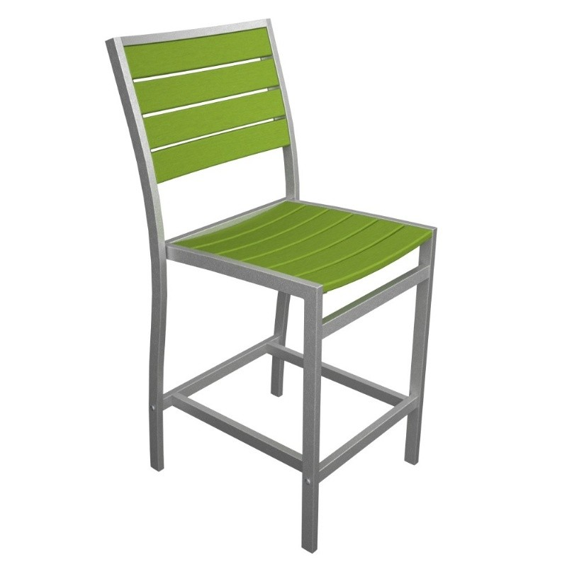 Euro Aluminum Outdoor Counter Chair with Silver Frame alternative photo #1