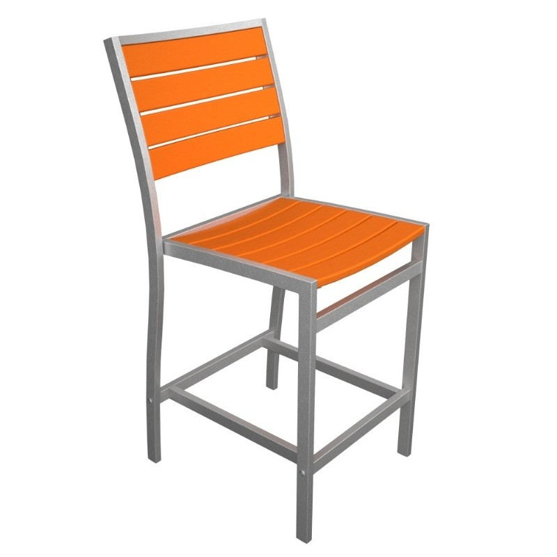 Euro Aluminum Outdoor Counter Chair with Silver Frame alternative photo #2